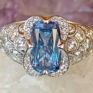 Tacori Blue Diamond 925Silver CZS Ring size 6